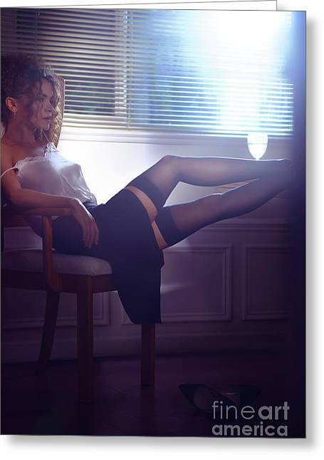 Woman Sitting In Chair By The Window Half Undressed With Her Leg Greeting Card