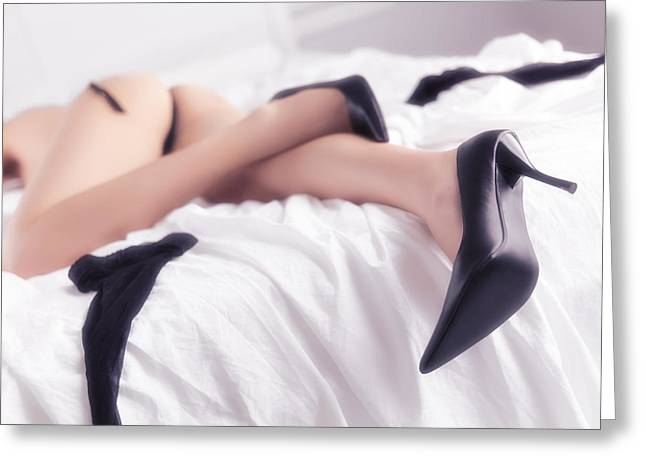 Low Heeled Shoes Greeting Cards - Woman sleeping in bed half naked Greeting Card by Oleksiy Maksymenko