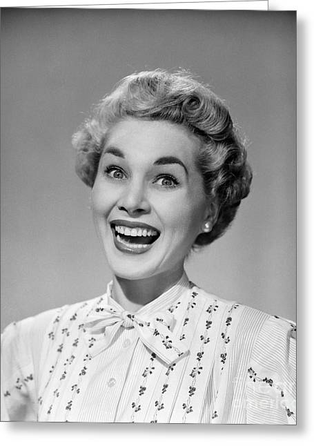 Woman Smiling Ecstatically, C.1950s Greeting Card by Debrocke/ClassicStock