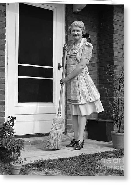 Woman Smiling With Broom, C.1940s Greeting Card