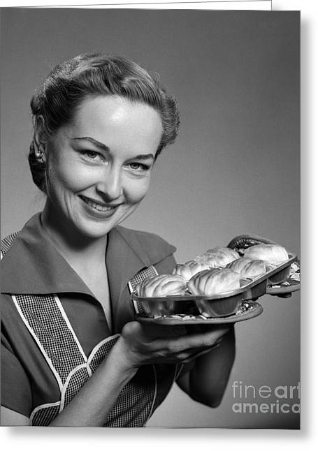 Woman Smiling With Fresh Rolls, C.1950s Greeting Card by H. Armstrong Roberts/ClassicStock