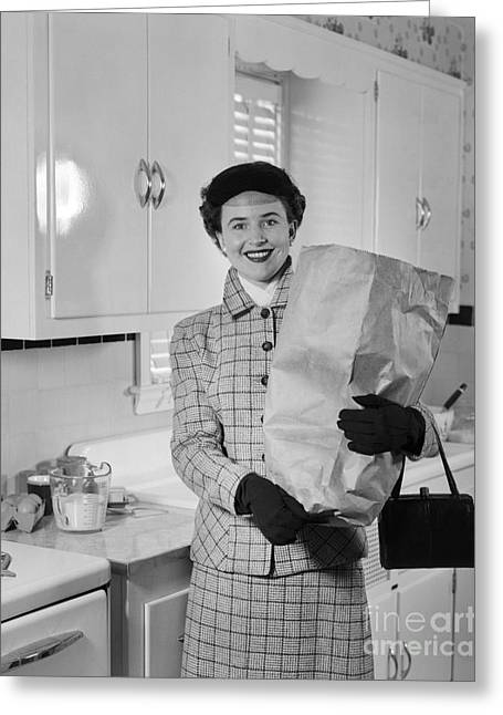 Woman Smiling With Grocery Bag, C.1950s Greeting Card