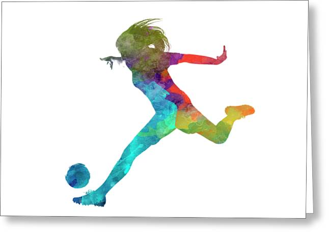 Woman Soccer Player 01 In Watercolor Greeting Card by Pablo Romero