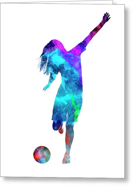 Woman Soccer Player 05 In Watercolor Greeting Card by Pablo Romero
