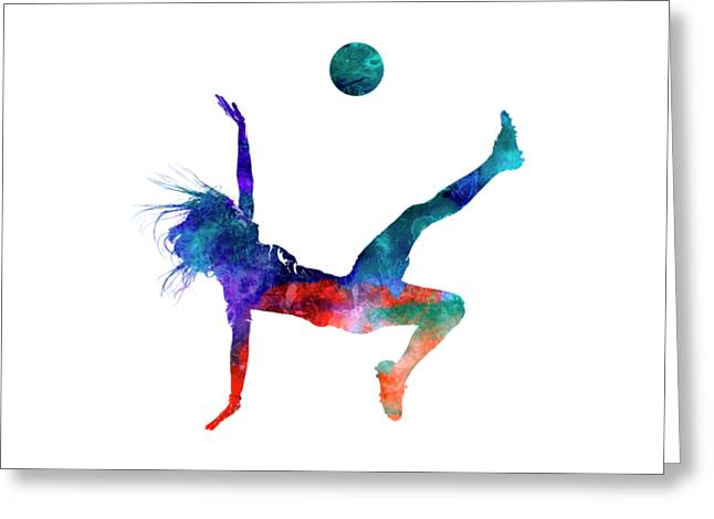 Woman Soccer Player 08 In Watercolor Greeting Card by Pablo Romero
