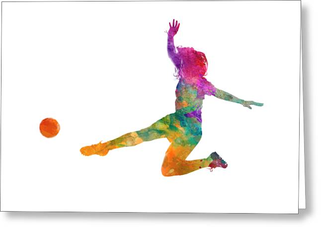 Woman Soccer Player 11 In Watercolor Greeting Card by Pablo Romero