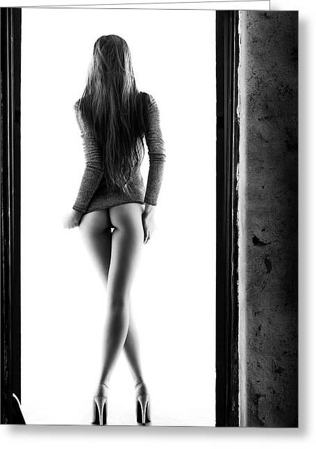 Woman Standing In Doorway Greeting Card