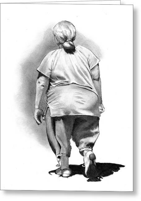 Woman Strolling In Sunshine Greeting Card by Joyce Geleynse