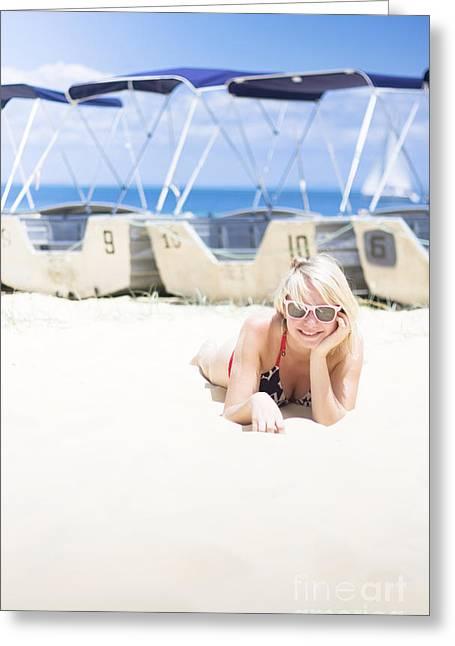 Woman Sunbathing On Beach Greeting Card by Jorgo Photography - Wall Art Gallery