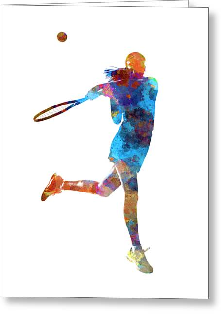 Woman Tennis Player 03 In Watercolor Greeting Card by Pablo Romero