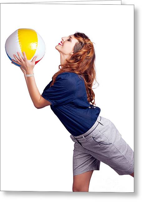 Woman Throwing Beach Ball On White Background Greeting Card by Jorgo Photography - Wall Art Gallery