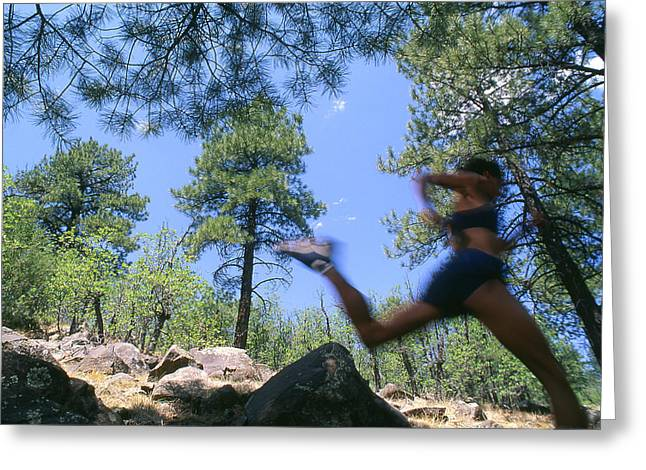 San Francisco Peaks Greeting Cards - Woman Trail Running In Mountains Greeting Card by Kate Thompson