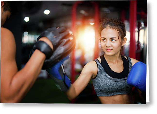 Woman Ttaining For Fitness Boxing Greeting Card