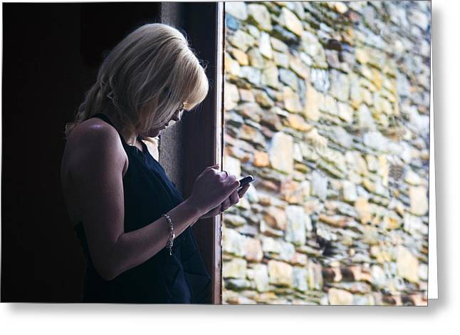 Woman Using A Smart Phone, Blackstairs Greeting Card by Panoramic Images