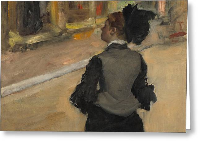 Woman Viewed From Behind, Visit To The Museum Greeting Card by Edgar Degas