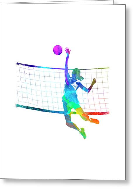 Woman Volleyball Player In Watercolor Painting By Pablo Romero