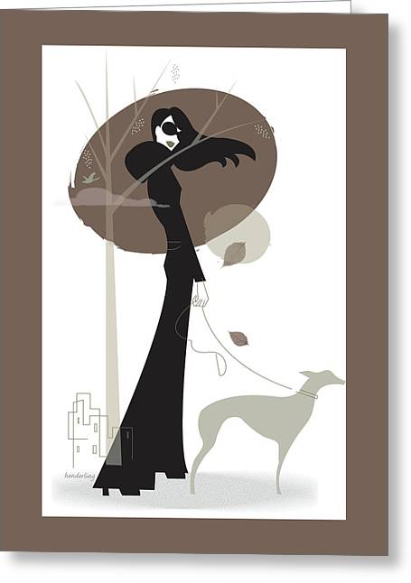 Woman Walking Dog Greeting Card