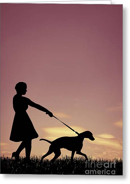 Woman Walking Her Dog Greeting Card