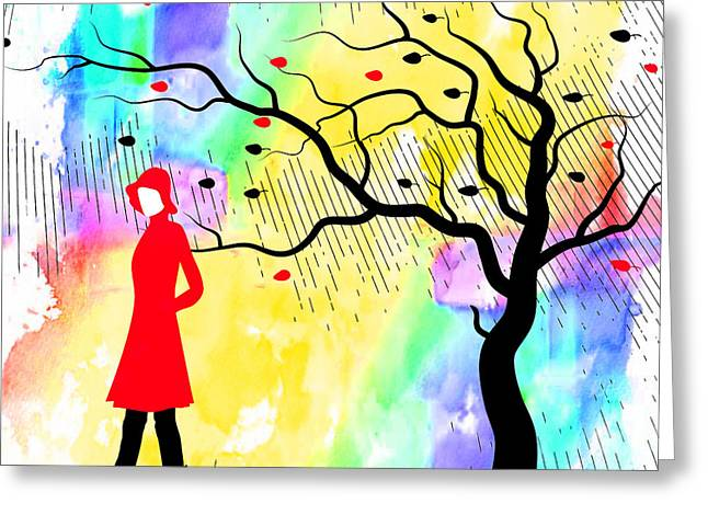 Woman Walking In Blustery Fall Rain With Colorful Watercolor Background Greeting Card