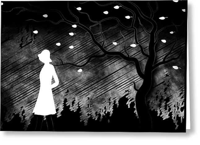 Woman Walking In Blustery Fall Scene - Black And White Greeting Card