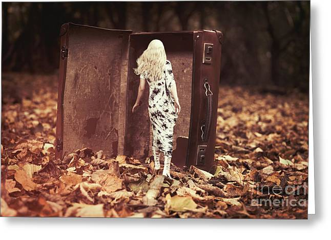 Woman Walking Into Suitcase Greeting Card by Amanda Elwell