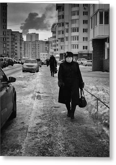 Woman Walking On Path In Russia Greeting Card by John Williams