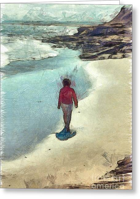 Woman Walking On The Beach Pei Greeting Card