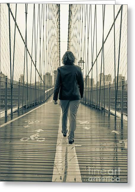 Woman Walking On The Brooklyn Bridge Greeting Card