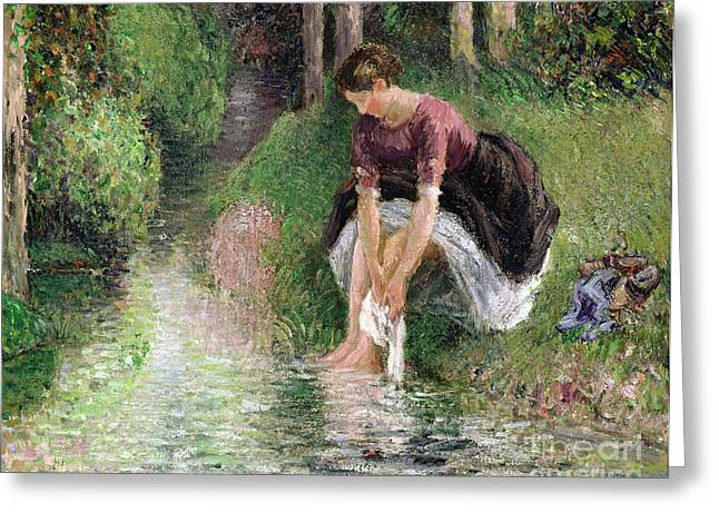 Beck Greeting Cards - Woman Washing Her Feet in a Brook Greeting Card by Camille Pissarro