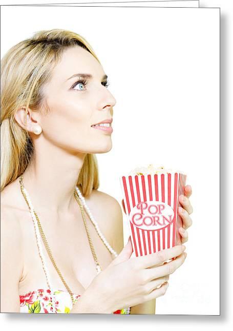 Woman Watching Movie At Cinema Greeting Card