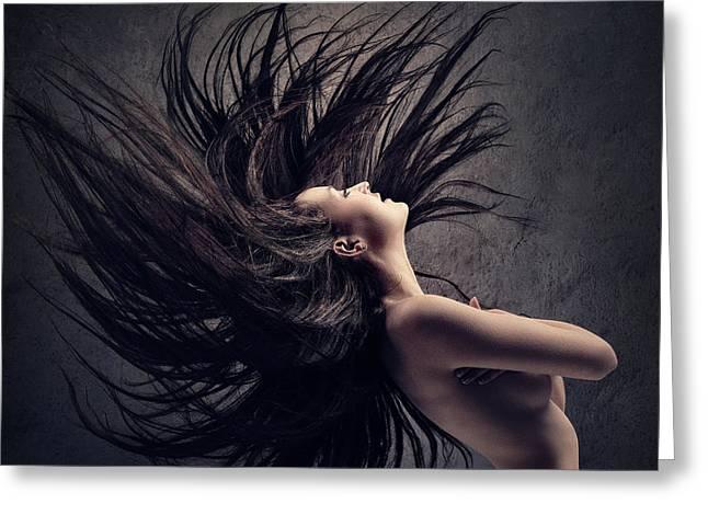 Woman Waving Long Dark Hair Greeting Card