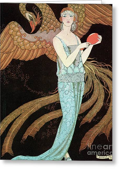 Woman Wearing A Blue Dress With A Phoenix Greeting Card by Mary Evans Picture Library