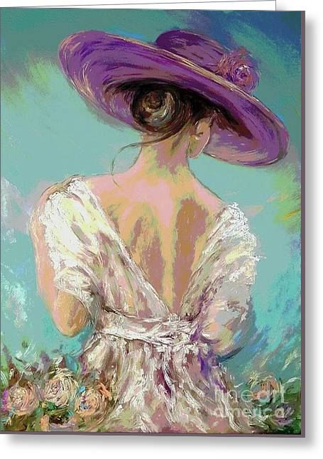 Woman Wearing A Purple Hat Greeting Card