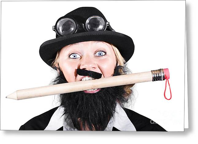 Woman Wearing Bowler Hat Holding A Pencil In Mouth Greeting Card by Jorgo Photography - Wall Art Gallery