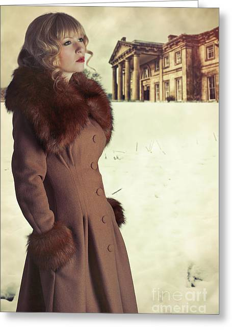 Woman Wearing Fur Trimmed Coat Greeting Card by Amanda Elwell