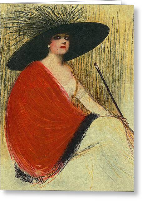 Woman Wearing Hat Greeting Card