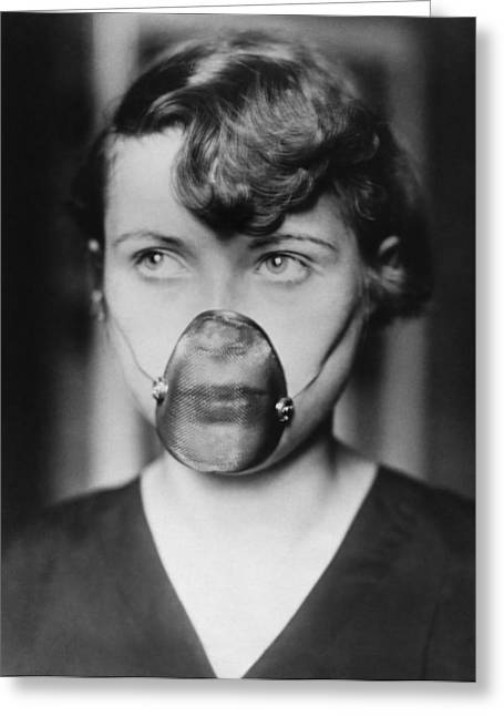 Woman Wearing Inhalation Mask Greeting Card by Underwood Archives