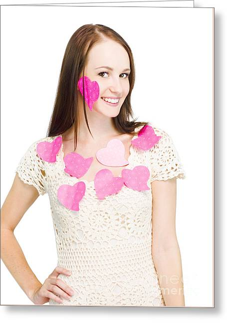 Woman Wearing Love Heart Notes Greeting Card