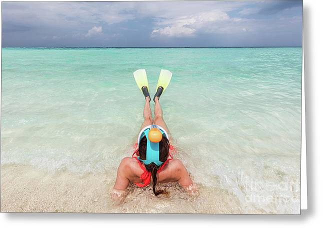 Woman Wearing Snorkeling Mask And Fins Ready To Snorkel In The Ocean, Maldives. Greeting Card by Michal Bednarek