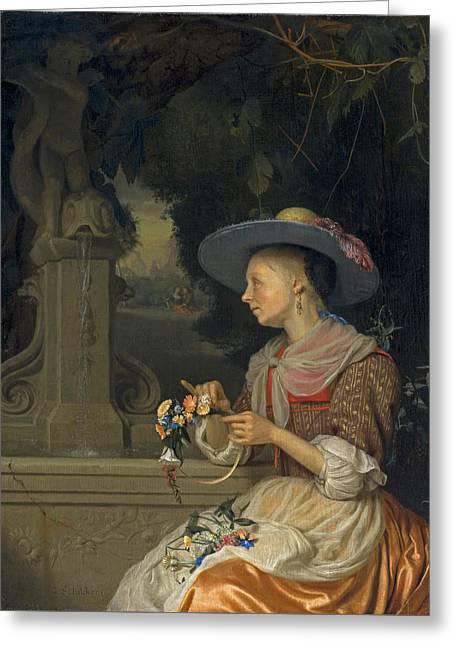Woman Weaving A Crown Of Flowers Greeting Card by Godefridus Schalcken