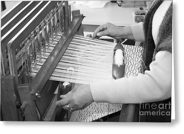 Woman Weaving Greeting Card by Gaspar Avila