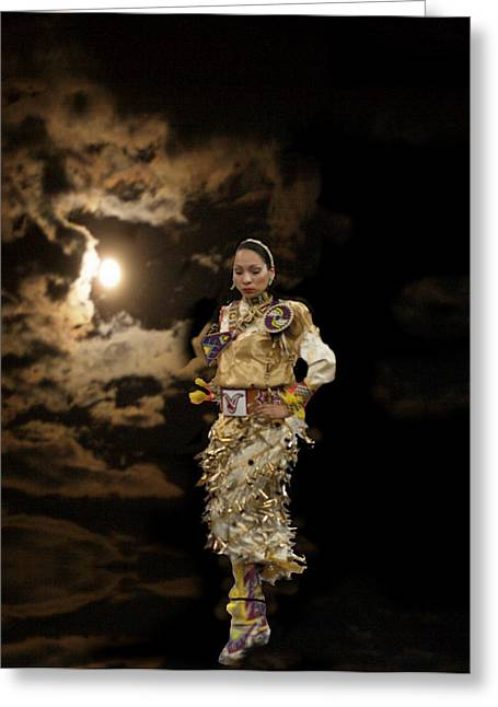 Woman Who Dances With Moon Greeting Card by Irma BACKELANT GALLERIES