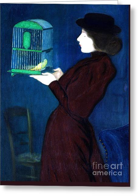 Woman With A Bird Cage  Detail Greeting Card