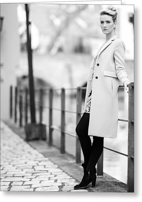 Woman With A Coat Greeting Card by Ralf Kaiser