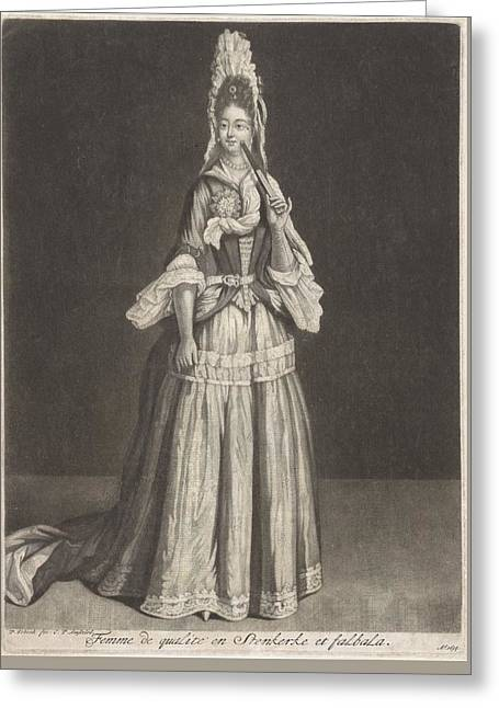 Woman With A Fan And Stein Kerke Tie, Peter Schenk I, After Jean De Saint-jean, 1694 Greeting Card by Celestial Images
