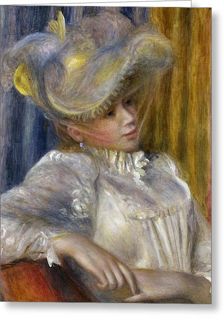Woman With A Hat Greeting Card by Auguste Renoir