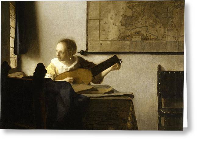 Woman With A Lute Near A Window Greeting Card by Johannes Vermeer