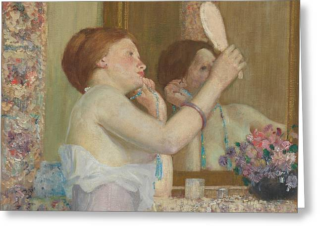 Woman With A Mirror Greeting Card by Frederick Carl Frieseke