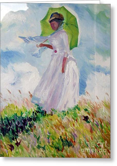 Woman With A Parasol Greeting Card