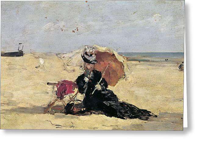 Woman With A Parasol On The Beach Greeting Card by Eugene Louis Boudin